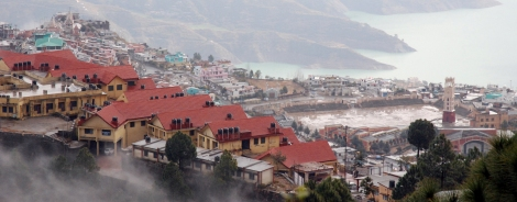 New Tehri town has been designed to look as a replica of the submerged town... clock tower and the mosque resemble the ones submerged
