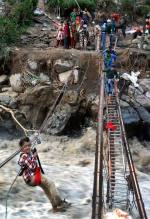 Rescue operations by Indo Tibetan Border Police in progress at Govindghat.