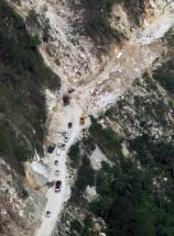 An areial view of a damaged road after landslide near Gaurikund