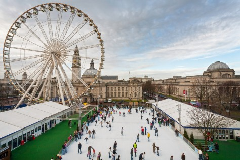 Ice skating rink and ferris wheel Cardiff Winter Wonderland South Events
