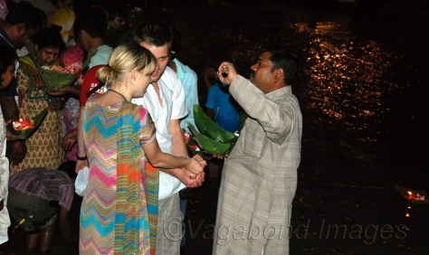Foreign tourists  performing Hindu rituals at Haridwar