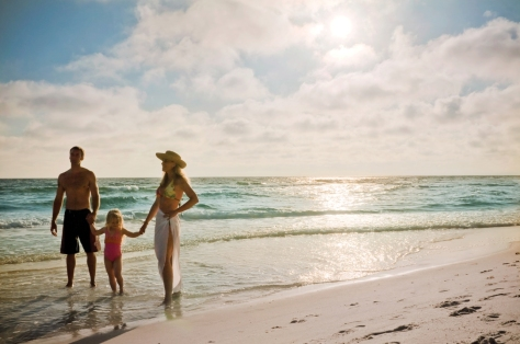 Tourists strolling at Panama city beach