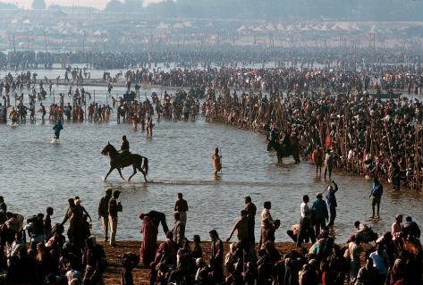 People bathing in the Sangam at the Kumbh Mela Festival, Kumbh Mela Festival, Allahabad, India