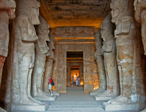 The hypostyle hall of the Great Temple, with eight Osiris pillars