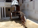 A normal house courtyard with a traditional cart