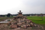 A lone Shivling standing tall amidst the ruins at the excavation site of Bijamandal