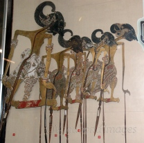 Wayang puppets of Java are made of leather and often used for kulit (shadow puppetry). These are all hindu mythological figures.