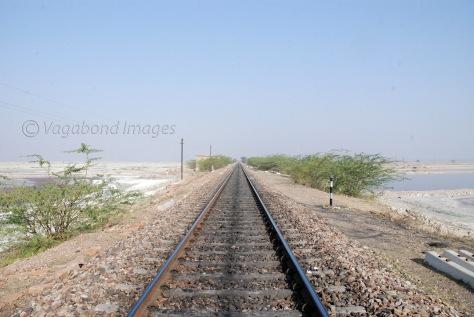 Railway track bisecting the salt lake